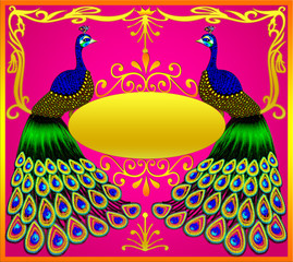 Two peacocks with gold(en) ova