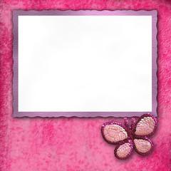 marco tarjeta rosa mariposa