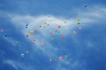multicoloured balloons in the blue sky