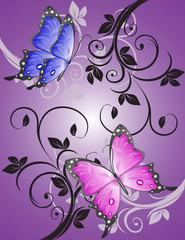 Colorful butterflies in the open pattern.