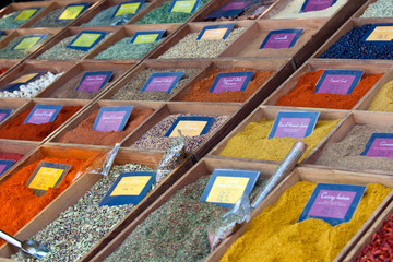 multicolored spices selling