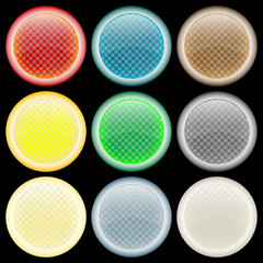 colored glossy web buttons against black