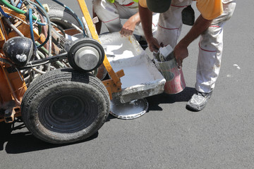 Preparing equipment for road marking