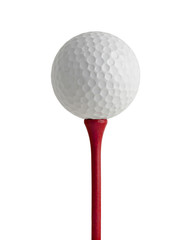 golf ball on red tee with paths