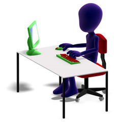 symbolic 3d male toon character working with a computer. 3D rend