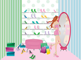 Young woman in the shoes store