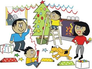 African family Christmas cartoon