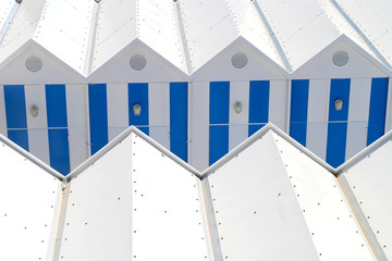 Blue white beach hut