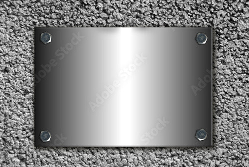 Fondo placa acero en pared de hormigon fotos de archivo - Placa de acero inoxidable ...