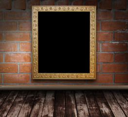 brick grunge interior with picture frame