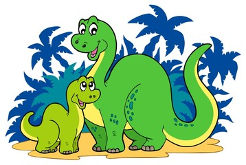 Photo sur Plexiglas Dinosaurs Cartoon dinosaur family