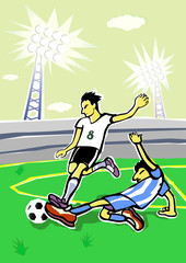 Soccer  players cartoon. Vector illustration.