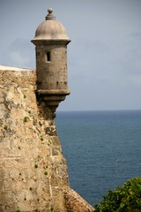 Sentry tower on El Morro Fort in Old San Juan , Puerto Rico