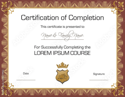 Template Certificate Of Completion