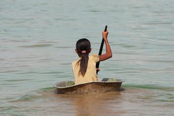 Girl from Cambodia on Tonle Sap Lake