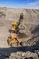 mining truck and excavator