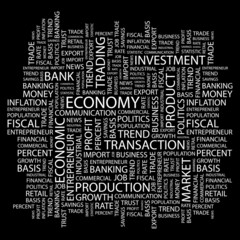 ECONOMY. Word collage on black background.