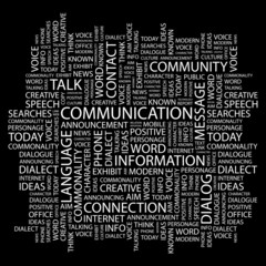 COMMUNICATION. Word collage on black background.