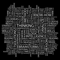 THINKING. Wordcloud vector illustration.