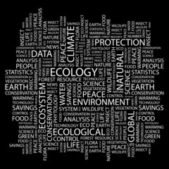 ECOLOGY. Word collage on black background.