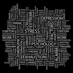 STRESS. Wordcloud vector illustration.