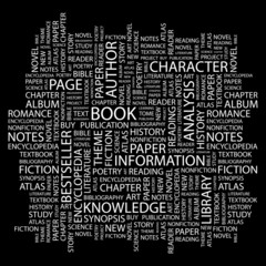 BOOK. Wordcloud illustration.