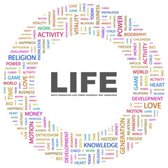 LIFE. Circular frame with association terms.