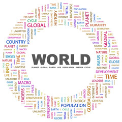 WORLD. Word collage on white background.