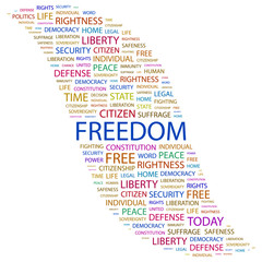 FREEDOM. Word collage on white background.