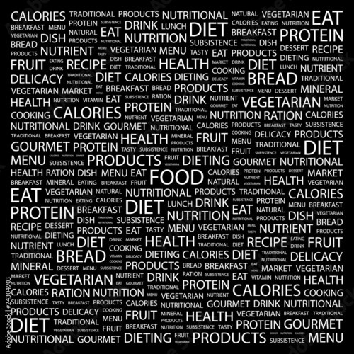 FOOD  Collage with association terms on black background