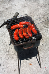 Salsicce su barbecue vintage