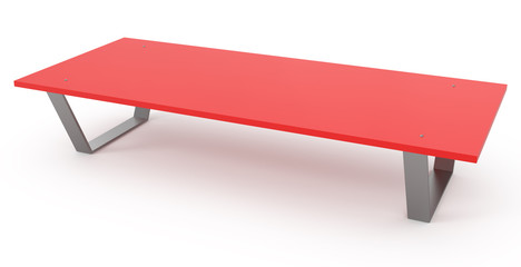 Red Bench isolated on white