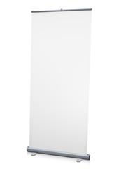 Blank 'roll-up' display. 3D rendered image.