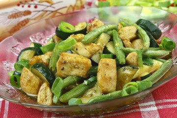 Chicken with zucchini and green beans
