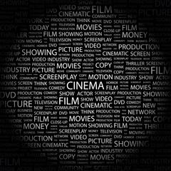 CINEMA. Wordcloud vector illustration.