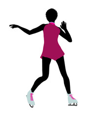 African American Female Ice Skater Art Illustration Silhouette