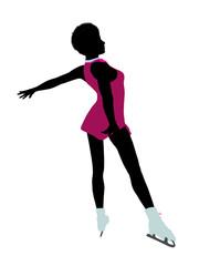 African American Female Ice Skater Art Illustration Silhouette