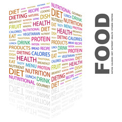 FOOD. Word collage on white background.