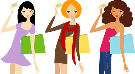 three fashion women with card and shopping bags