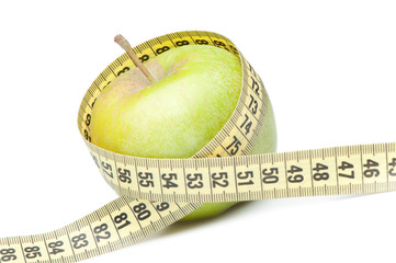 Closeup of a green apple with a measuring tape. Isolated on whit