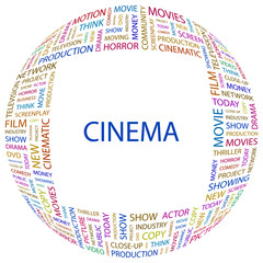 CINEMA. Word collage with different association terms.