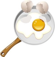 Uovo Fritto in Padella-Fried Egg-Vector