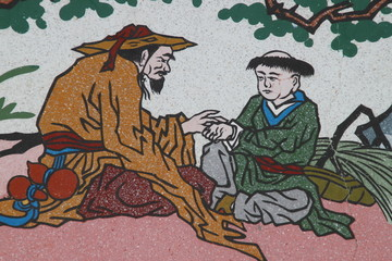 art painting on wall of Wang Grood Shrine, Sa Tuk, Buriram
