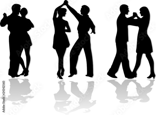 """dance couples silhouettes"" Stock image and royalty-free ..."