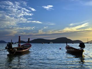 two fishing boat on Thai sea , Puket , Thailand ,