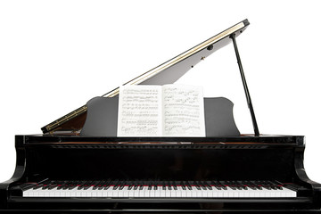 Baby Grand Piano against a White Background