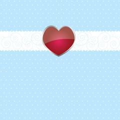 Colorful background with ribbon  and heart . vector illustration