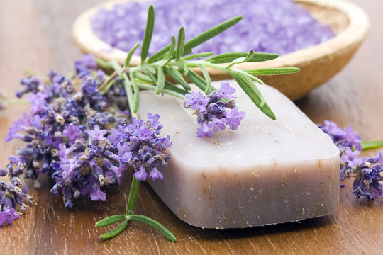 bar of natural soap, herbs and bath salt
