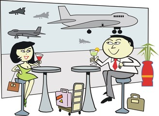 Asian couple at airport cartoon