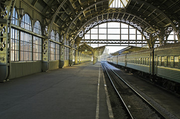 Aluminium Prints Train Station Railroad station platform